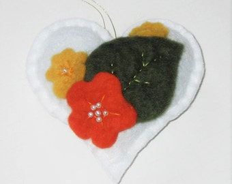 Felt Heart White with Felted Yellow and Orange Flowers