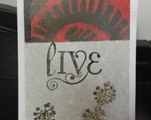Original art card, live, with bronze glitter embossed flowers