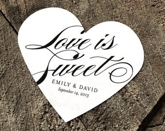 Calligraphic Heart Wedding Labels - Love is Sweet Wedding Stickers - Envelope Seals - Black and white Wedding - Goody Bag Labels - Set of 50