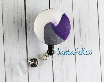 Swirl Badge Holder with Retractable Badge Reel handmade with Polymer Clay - for Office / Nurse / Teacher/ Coworker