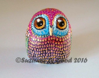 FANTASY OWL hand made and painted figurine with crystals by Suzanne Le Good