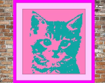 Kitten Counted Cross Stitch Pattern