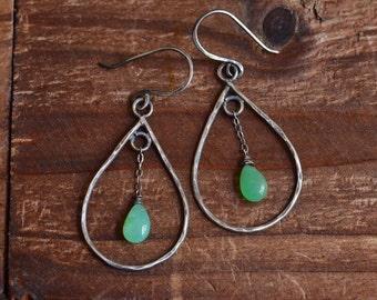 Sterling Silver Chrysoprase Earrings - Dainty Teardrop Frame Earrings - Simple Boho Earrings - Mint Green Earrings - Oxidized Hoop Earrings
