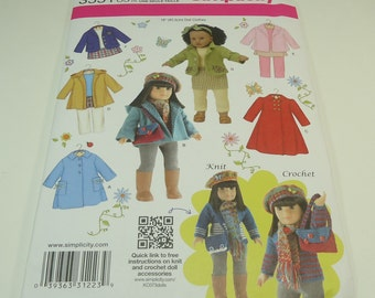 """Simplicity American Girl 18"""" Doll Clothes Pattern 3551 One Size"""