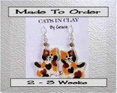 Calico Cat Shaped French Wire Earrings Handmade To Order In Kiln Fired Clay by Gracie