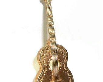 Western Guitar JJ pin Jonette brooch open work gold tone