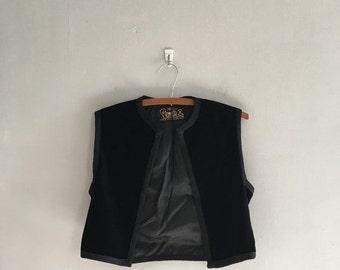 Black velvet vest 1970s black vest bolero jacket