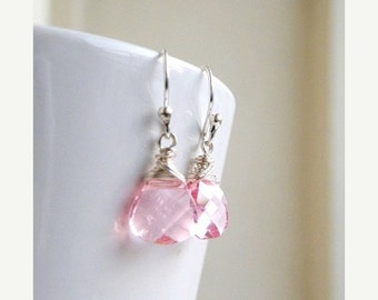 Clearance SALE Swarovski Crystal Earrings Pale Pink  Wire Wrapped Sterling BE12