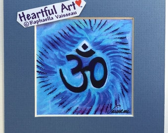 OM Symbol 5x5 Print Hindu AUM Motivational Yoga Meditation Sacred Sanskrit Letters Quotation Spiritual Heartful Art by Raphaella Vaisseau