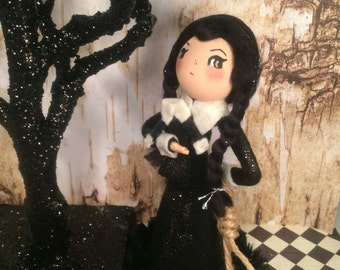 Wednesday Addams art doll halloween decor vintage retro inspired black and white wednesday addams tree topper centerpiece party decor