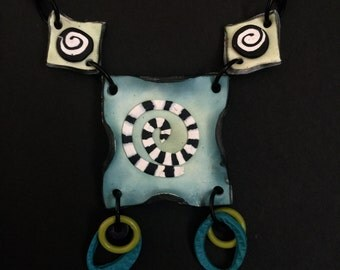 Clay square necklace in blues