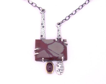 Noreena Jasper Rectangle Garnet Pendant Sterling Silver 18 Karat Gold Necklace