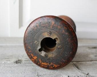 Large Antique Wooden Bobbin, wood Spool, Vintage Textile, Rustic, Primitive, Collectibles