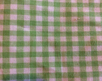 3 Yards of Vintage Apple Green and White Gingham Check Cotton Fabric
