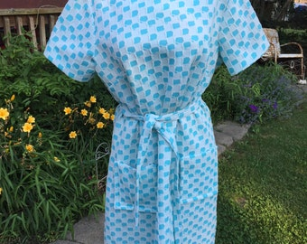 Vintage 1970's Era Aqua and White Sears Perma-Prest Double Knit Dress with Belt