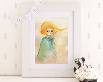 Loreta, print, wall art, poster print, illustration print, digital print, wall decor, art illustration, 6x8