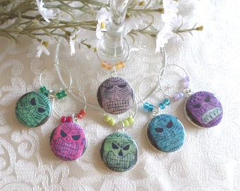 Tikis Wine & Drink Glass Charms - Set of 6