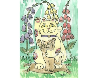 Good Luck Abounds Amidst the Foxgloves - Choose from ACEO Print, Note Cards, or Art Print