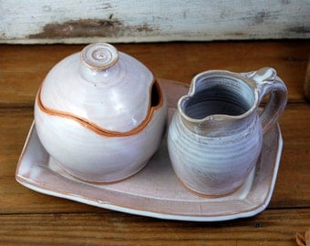 Shale Creamer And Sugar Jar Set with Tray - Made to Order