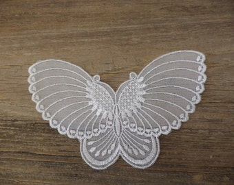 8 large lace-like fabric butterflies for appliqué sewing embellishments