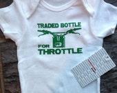 Last in stock!! Green Hardcore Baby Motorcycle Dirt Bike Traded Bottle for Throttle Onesie Bodysuit Tshirts