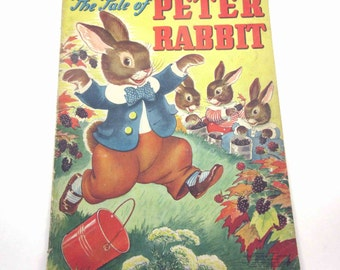 Peter Rabbit Vintage 1940s Over Sized Textured Children's Book by Merrill Publishing Co. Illustrated by Milo Winter