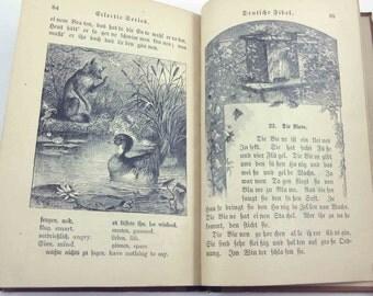 Deutfche Fibel Antique 1880s Illustrated German Primer or Reader Book with Beautiful Illustrations