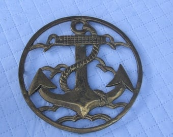 Brass Anchor Trivet Hot Plate Holder Footed Nautical Navy Kitchen