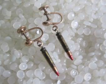 vintage earings , bazzar , steampunk, brass bullets, screw back earrings