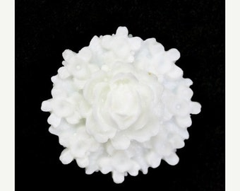 50% off Sale Plastic Flower Cabochons Rose Clusters 26mm White (3) PC299