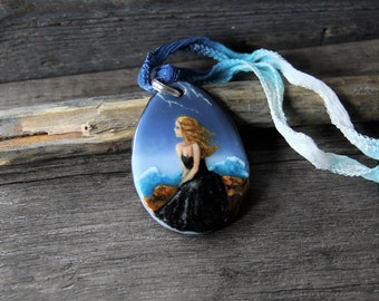 Amazing gypsy lady mermaid in the storm  - back to the sea - fused glass pendant - mermaid nekclace