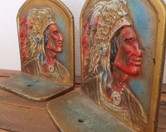 Vintage Indian Chief Bookends Antique Painted Cast Iron Bookends Native American Bookends Vintage Americana Decor Home Library Decor