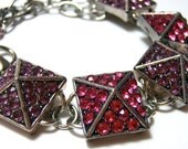 Pink and Purple Pyramid Stud bracelet -Rhinestone studded triangular charms on silver and pink chain - Glam Rock