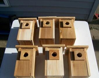 6 bluebird houses western red cedar handmade top opening