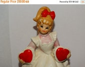 Valentines Day Sale Vintage Lefton 2 Hearts Valentine Day Girl Music Box Figurine 2183, Sweetheart Music Box Figurine, Blonde,Candy Hearts,