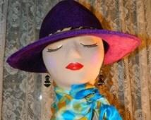 HUGE SALE Purple Pimp Daddy Hat with Leopard Print Trim, Halloween Costume Accessory Hat