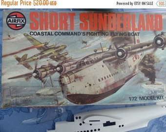 Sale 1975 AirFix Short Sunderland III Kit Incomplete Parts Kit 1/72 Military Fighter Plane Airplane Kit Coastal Command Fighting Flying Boat