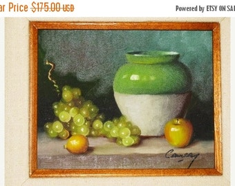 ON SALE Vintage Fruit Oil Painting, Life, Fruit & Crock, Country Primitive, Folk Art, Still Life Oil Painting