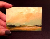 MINI 1635, oil painting, landscape, 100% charity donation, original painting, miniature art, oil painting on paper, clouds