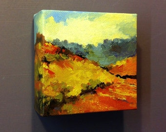 "BRIGHT BRAE, oil painting landscape painting, original painting, 100% charity donation, 4""x4""x1.5"" stretched canvas, clouds"