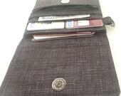 black grey wallet. womens fabric coin purse card organizer. cute ladies credit card holder. tween small vegan slim gift