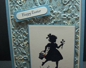"Handmade Stampin Up Easter Blossoms Card 5 1/2 x 4 1/4"" Girl Silhouette Happy Easter"