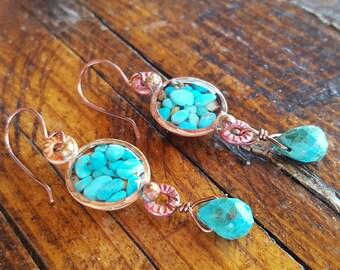 Genuine Turquoise Earrings - Blue Turquoise - Cowgirl Earrings - Copper Earrings - Western Jewelry - Southwestern