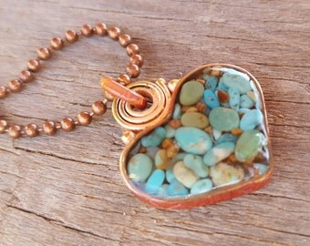 Long Turquoise Heart Necklace - Blue Green Turquoise - Rustic Copper Heart - Cowgirl Jewelry - Copper Ball Chain - Southwestern