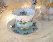 pretty vintage royal albert teacup and saucer, fine english bone china, egg blue & white footed cup, cottage summer flowers, tea party table