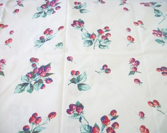 vintage cotton tablecloth, fresh berry pattern, juicy raspberries on white, summer cottage chic, great condition, not a cutter