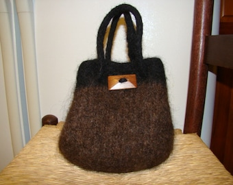 2 Handled Felted Drawstring Purse Handbag  Brown Black