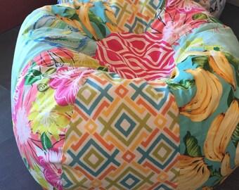 NEW Surfer Girl multi print bean bag with tropical flowers, turtles, bananas, flamingo and geometric prints