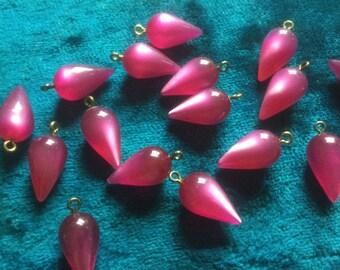 Vintage Lucite Moonstone Drops (8)(20x9mm) Fushia/Raspberry Pendant Earrings Dangles