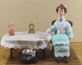 Lucy M. Montgomery-  Anne of  Green Gables-  Author Doll- Miniature Diorama Scene